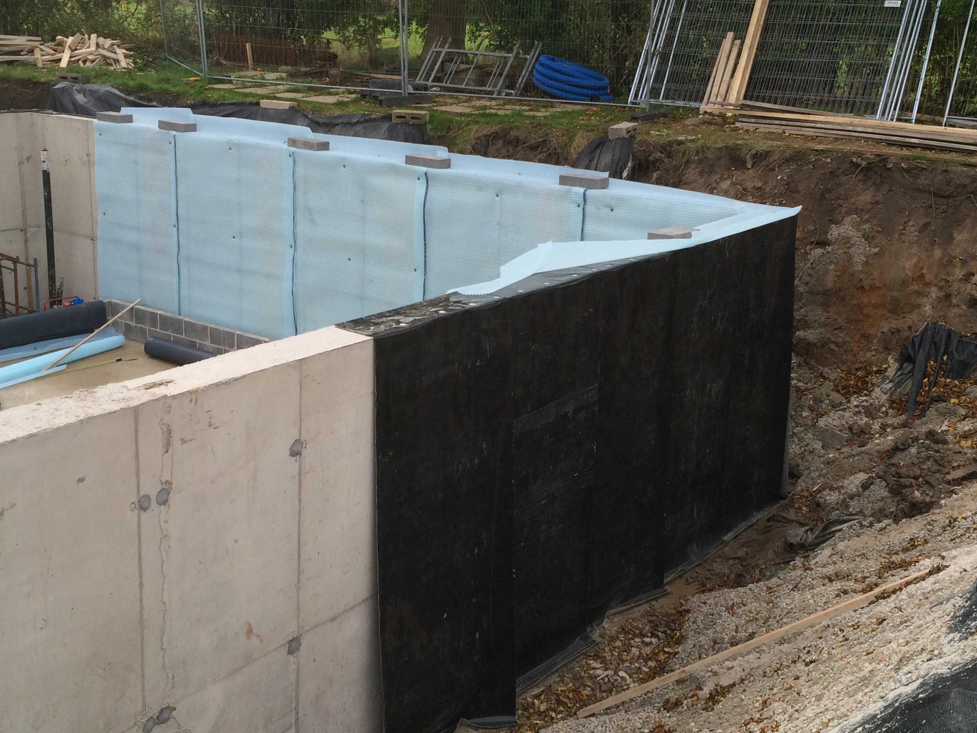 Basement waterproofing at a new build property in wheldrake for Building a basement foundation