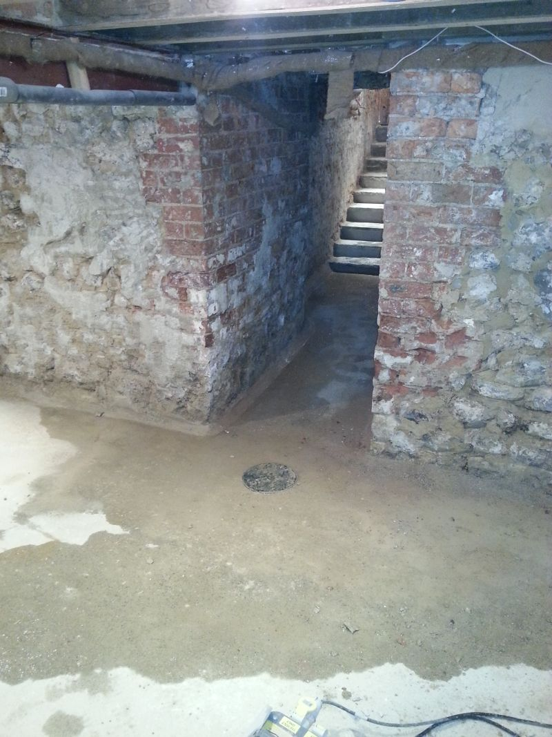 Conversion Of A Wet Basement Iin York To Dry Usable Space